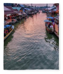 Floating Market Sunset Fleece Blanket