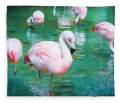 Flock Of Flamingos Fleece Blanket