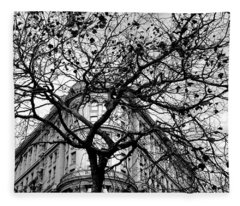 Flood Building - San Francisco - Corner Tree View Black And White Fleece Blanket