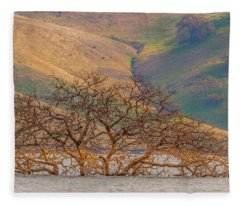 Flooded Tree And Hillside Fleece Blanket