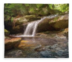 Flooded Waterfall In The Forest Fleece Blanket