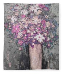 Floral Abstract - Reverse - Modern Impressionist Palette Knife Work Fleece Blanket