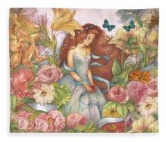 Floral Angel Glamorous Botanical Fleece Blanket