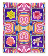 Floral Collage Daffodil Hibiscus Poppy Lily Fleece Blanket