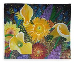 Floral Fireworks Fleece Blanket