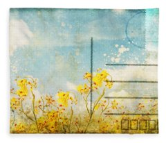 Floral In Blue Sky Postcard Fleece Blanket