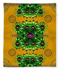 Floral In Metal And Chains Fleece Blanket