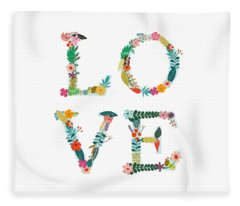 Floral Love Letters Fleece Blanket