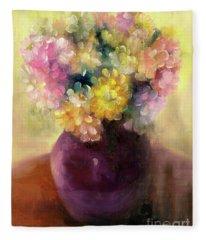 Floral Oil Sketch Fleece Blanket
