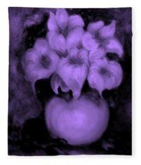 Floral Puffs In Purple Fleece Blanket