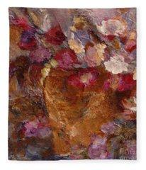 Floral Still Life Pinks Fleece Blanket