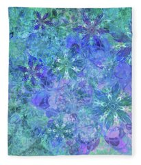 Floral Watercolor Blue Fleece Blanket