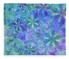 Floral Watercolor Blue Fleece Blanket