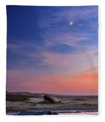 Florence Beach Twilight Moon Fleece Blanket
