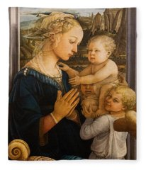 Florence - Madonna And Child With Angels- Filippo Lippi Fleece Blanket