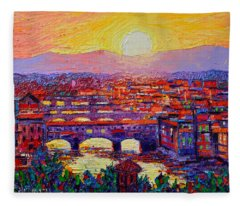 Florence Sunset Over Ponte Vecchio Abstract Impressionist Knife Oil Painting By Ana Maria Edulescu Fleece Blanket