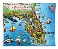 Florida Fun Map Fleece Blanket