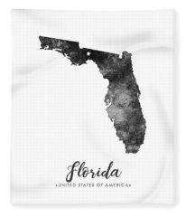 Florida State Map Art - Grunge Silhouette Fleece Blanket