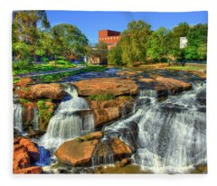 Flow On Reedy River Falls Park Art Greenville South Carolina Art Fleece Blanket