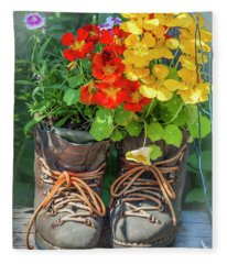 Flower Boots Fleece Blanket