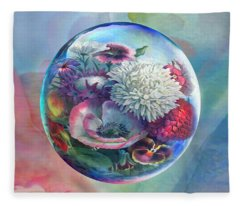 Flower Drop Blues Fleece Blanket
