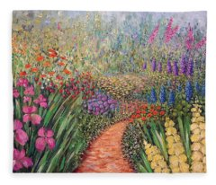 Flower Gar02den  Fleece Blanket