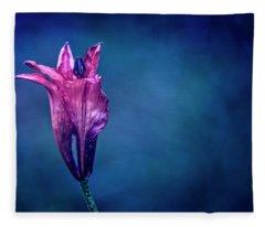 Flower On Blue Background Fleece Blanket
