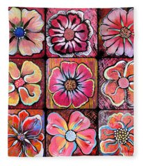 Flower Power Montage Fleece Blanket