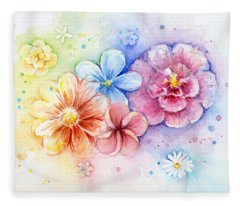 Flower Power Watercolor Fleece Blanket