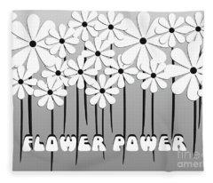 Flower Power - White  Fleece Blanket