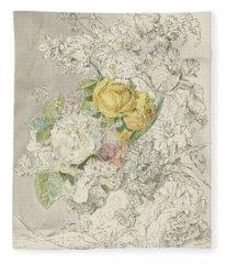 Flower Still Life With Nuts, Anthony Oberman, Ca. 1830 V Fleece Blanket