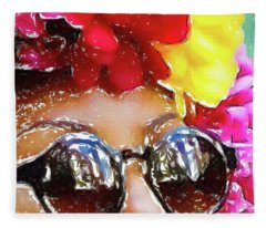 Flowered Sunglasses Fleece Blanket