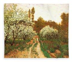 Flowering Apple Trees Fleece Blanket