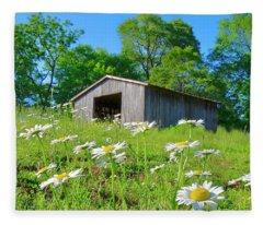 Flowering Hillside Meadow Fleece Blanket