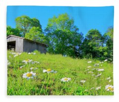 Flowering Hillside Meadow - View 2 Fleece Blanket