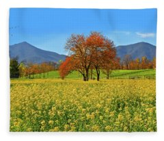 Flowering Meadow, Peaks Of Otter,  Virginia. Fleece Blanket