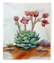 Flowering Succulent Fleece Blanket