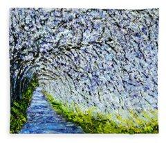 Flowering Tree Lane Fleece Blanket