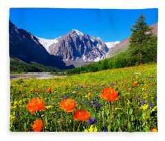 Flowering Valley. Mountain Karatash Fleece Blanket