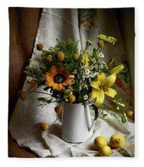 Flowers And Lemons Fleece Blanket