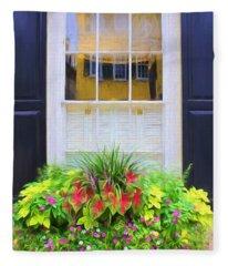 Flowers And Reflections Fleece Blanket