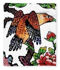 Flowers And The Bird Fleece Blanket