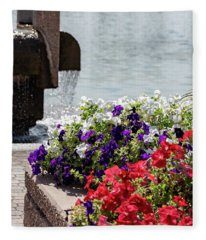 Flowers And Water Fleece Blanket