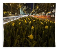 Flowers At Night On Chicago's Mag Mile Fleece Blanket