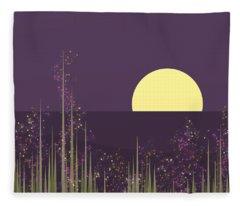 Flowers Blooming At Night Fleece Blanket