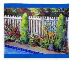 Flowers By The Pool Fleece Blanket
