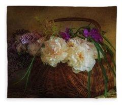 Flowers In A Basket Fleece Blanket