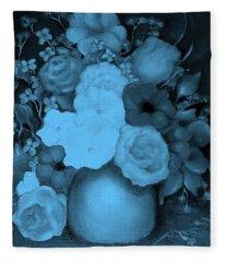 Flowers In Blue Fleece Blanket