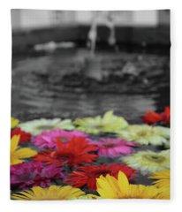 Flowers In Fountain Fleece Blanket
