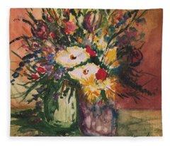 Flowers In Vases Fleece Blanket